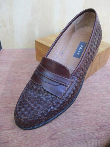 Bally Switzerland brown Edinburgh woven leather pe