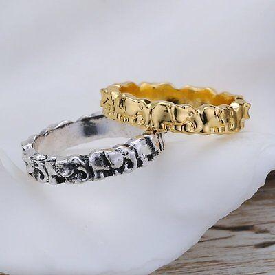 New Retro Tiny elephant animal ring couple Men Women unique Fashion Jewelry Gift