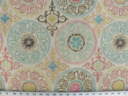 Drapery Upholstery Fabric Woven Jacquard Medallions Hot Pink Multi Emblems