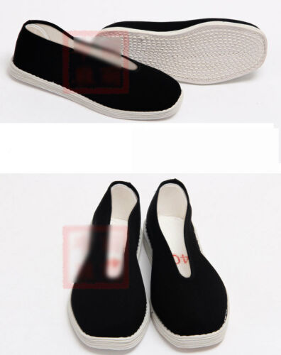 Chinese Mens Womens Martial Arts Kung Fu Wushu Canvas Black Shoes Slippers soft
