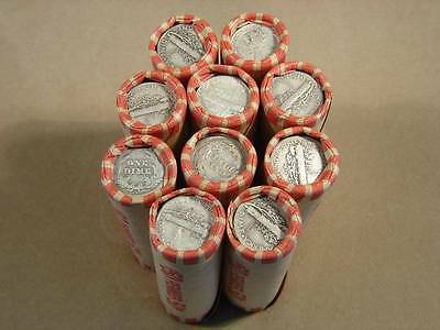 Unsearched Wheat Penny Roll with a Mercury Dime or Barber Dime End