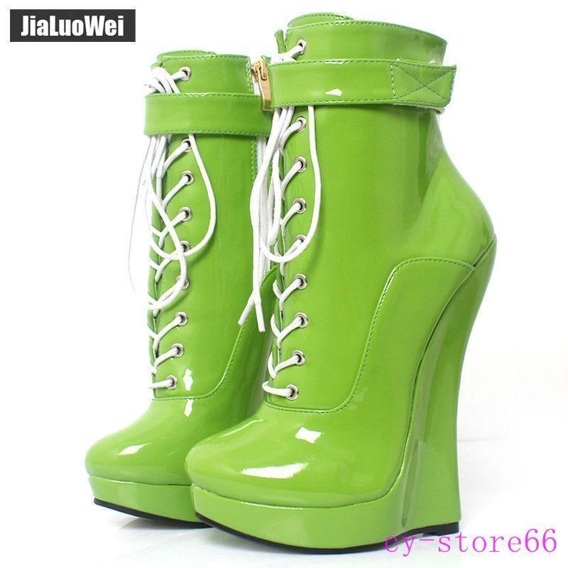 18cm Ultra Brillante de Cuero Cuero Cuero para Mujer Tacón Alto Cuña Punk Tobillo botas Con Cordones Talla Grande  punto de venta en línea