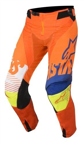 Alpinestars 2018 Techstar FACTORY ARANCIO FLO BLU BIANCO GIALLO FLO Race Pantaloni Mo