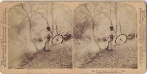 Giappone L Autunno Donna A L Ombrello Foto Stereo Vintage Albumina 1896