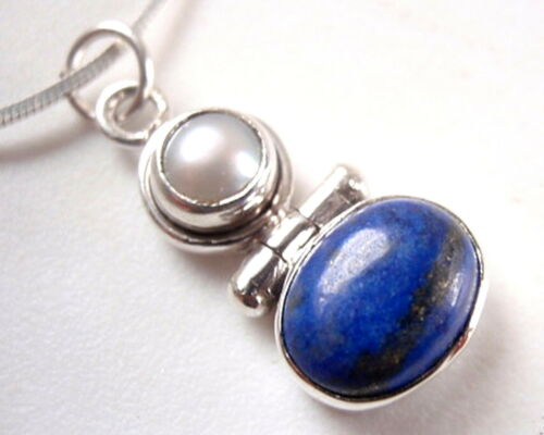 Genuine Pearl Lapis Lazuli Two Gem Stone 925 Sterling Silver Necklace New 1.5ct
