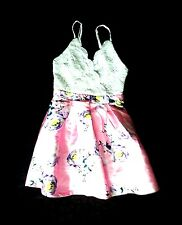 NEW ANTHROPOLOGIE CROCHETED WHITE PINK FLORAL FIT-N-FLARE SUMMER DRESS S 4 6