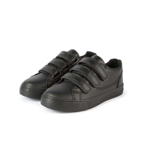 Kickers Tovni Triple Bar Hook and loop Black Leather School shoes