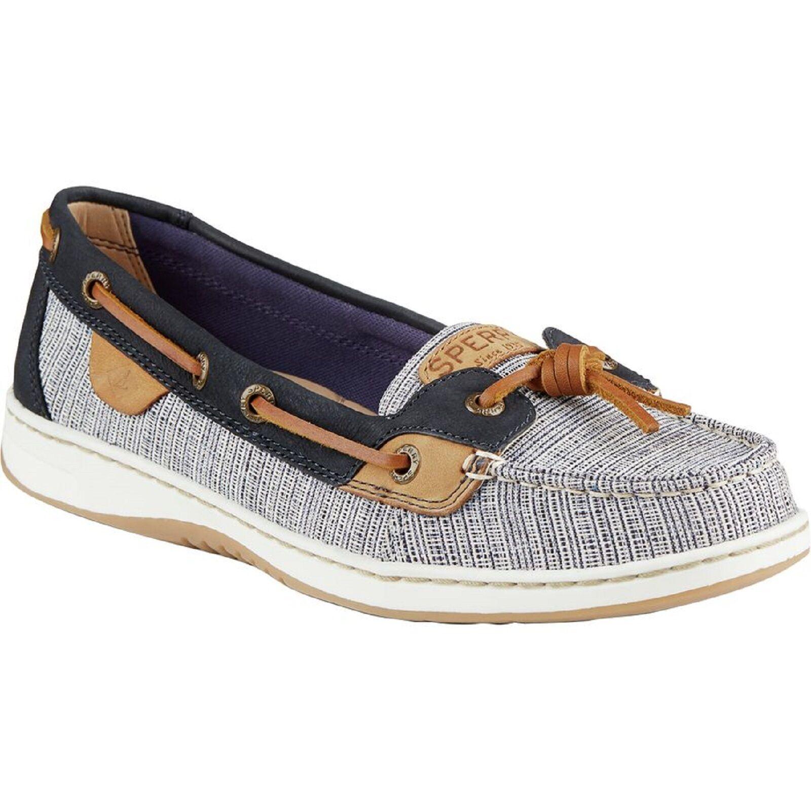 SPERRY 'Dunefish Crosshatch' Navy Wht Brn Ladies  Boat shoes  Sz. 9.5 M NIB