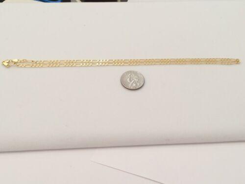 "Real Italian 10k Yellow Gold Men Women Figaro Chain Necklace  22/"" inch 3 MM"