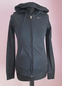 85ee11e973a VTG Ladies NIKE Black Zipped 100% Cotton Hooded Sweatshirt Size ...