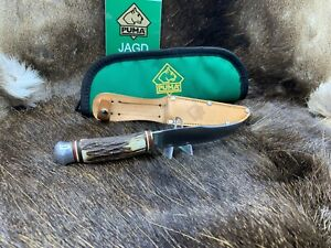 Puma-Vintage-Hirschhorn-Griff-Deer-Stag-Scout-Knife-Leather-Sheath-Mint-034-A2-034