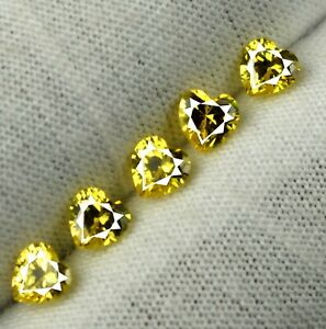Heart Shape 2.20 Ct/3 mm Yellow Sapphire 5 Pcs Natural Gems Lot Certified GP26