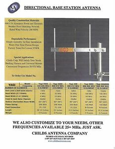UHF YAGI ANTENNA, 470-490 MHz, 3 ELEMENT DIRECTIONAL ANTENNA, CHILDS YAGI