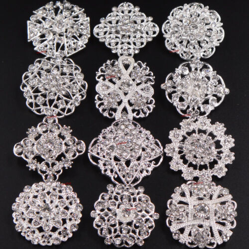 10-100 Brooch Lot Silver Rhinestone Crystal Pin Wedding Bouquet DIY Wholesale