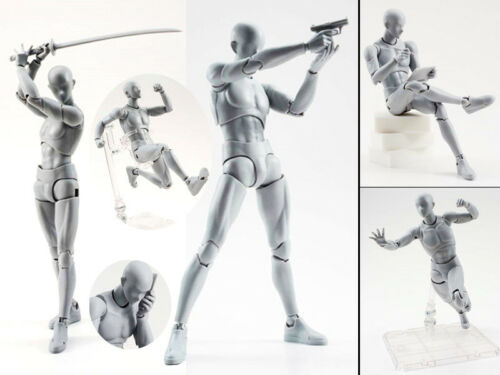 30 Parts Male Muscle Nude Movable Limbs Body Grey Figurine Action Figure No Box