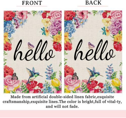 Hexagram Hello Spring Flags 28 x 40 Double Sided,Watercolor Spring House Flag,Ya