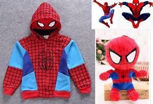 Boys-Spiderman-Hoodie-Top-Marvel-Superhero-and-Soft-plush-Toy-12inch-30cm-Medium