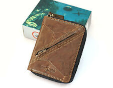 New Tough Genuine Leather Zipper Around Brown Mens Womens Wallet purse t1099 NWT