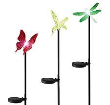 Solaration 1004B Solar Hummingbird Butterfly Dragonfly Garden Stake Set Of 3