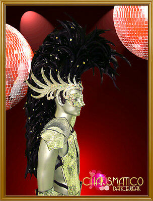 CHARISMATICO Drag queen or male sized Black and silver Mohawk headdress