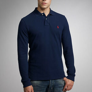 Polo-Ralph-Lauren-Custom-Fit-Camisa-Polo-de-manga-larga-Newport-Azul-Marino