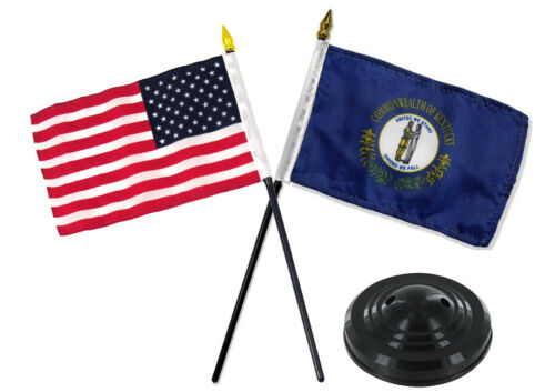"Kentucky State w// USA America American Flag 4/""x6/"" Desk Set Table Black Base"