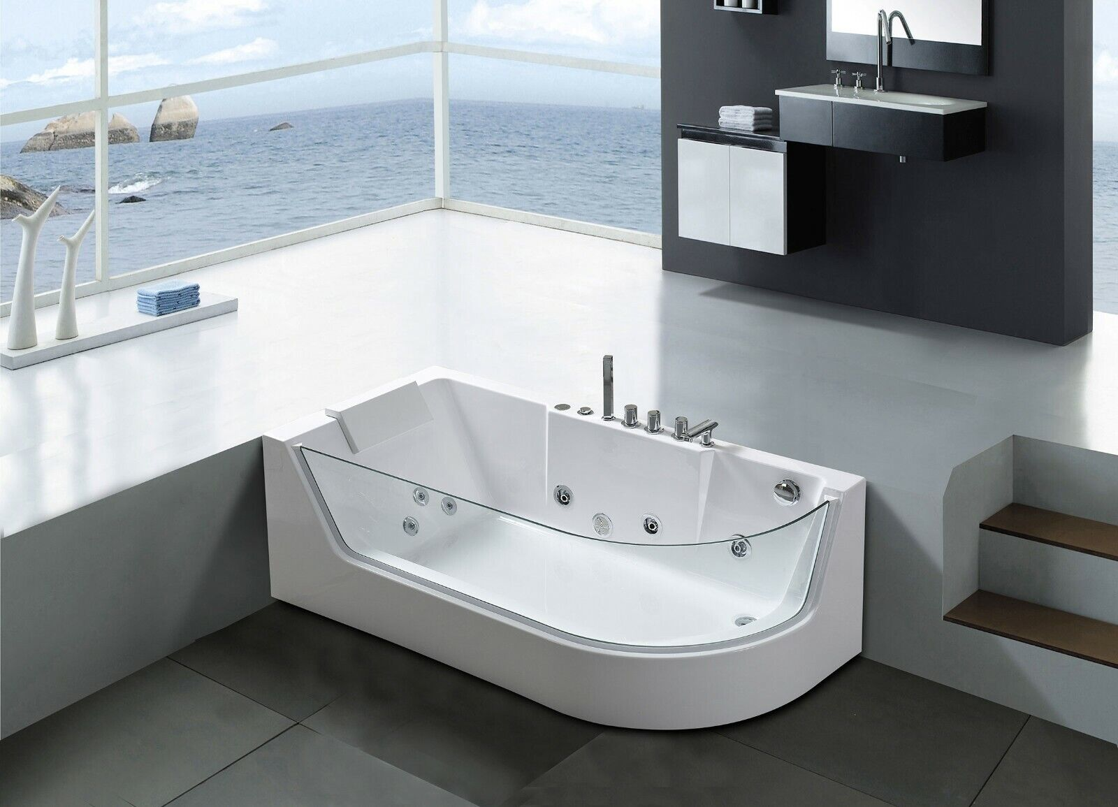 Simba Usa Whirlpool Massage Hydrotherapy White Corner Bathtub Hot Tub 2 Two Person 59 05 For Sale Online Ebay