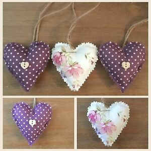 Astounding Details About Set Of 3 Handmade Fabric Shabby Chic Hanging Love Hearts Padded Heart Home Interior And Landscaping Ponolsignezvosmurscom