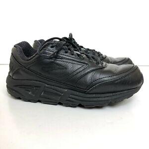 Black Leather Athletic Walking Shoe