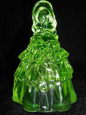 Green Vaseline glass Louise Doll Hand Bell / uranium Girl figurine yellow canary