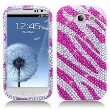 Bling Rhinestone Protector Case for Samsung Galaxy S3 i9300 - Hot Pink Zebra