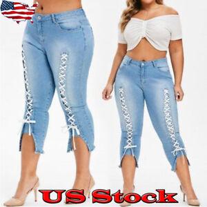 Women-Slim-Lace-Up-Jeans-Pencil-Pants-Fashion-Legging-Skinny-Denim-Pant-Trousers