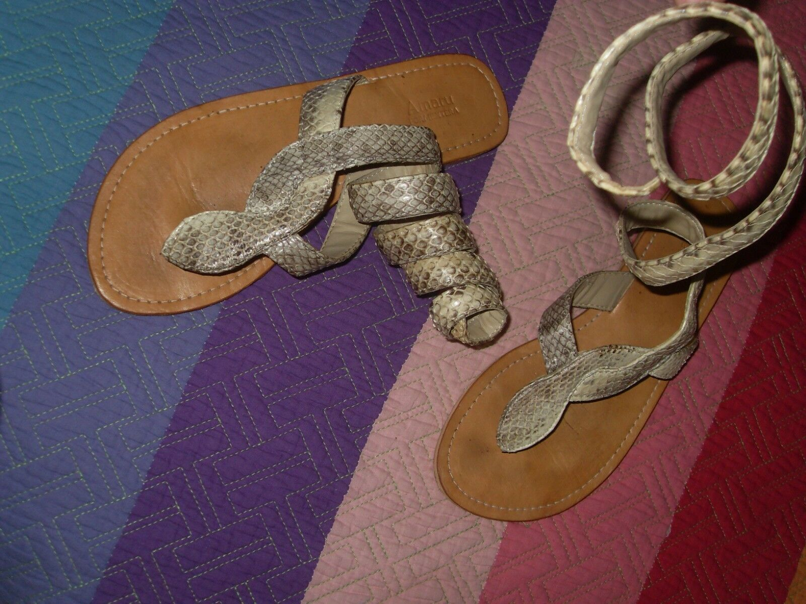 Roman sandals flip flops snake skin Gladiator 36 or 37 collection
