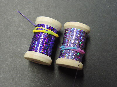 "2 Spools Extra Thin Flat /""GREENS/"" Holographic Tinsel Flash Ribbing 24 Yards"