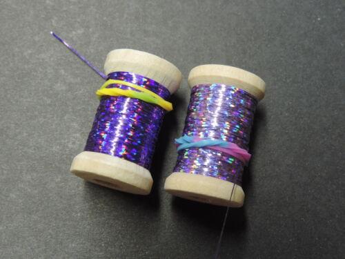 """24 Yd 2 Bobines Extra Mince plat /""""violettes/"""" Holographique oripeaux Flash charpente environ 21.95 m"""