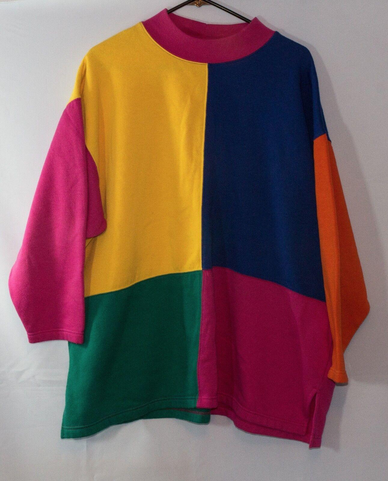 Vintage Capistrano Multi color Retro ONE SIZE Comfy Sweatshirt Yellow bluee Pink