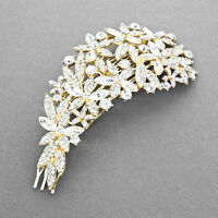 Gold And Clear Crystal Flower Hair Comb