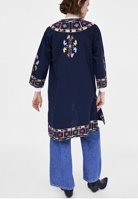 10 Long Kimono Zara S Marine Uk Taille Bleu Brodé Caftan qTOAvpw
