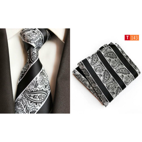 Men's Bright Color Paisley Necktie Tie Handkerchief Pocket Square Matching Set