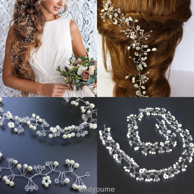 Women Pearl Wedding Hair Vine Crystal Bridal Accessories Diamante Headband 35cm.