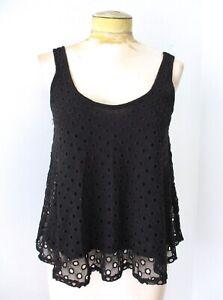 Ella Moss black swing tank top big eyelet lace circles dots modal knit lining XS