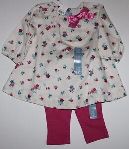 e793a72faf52 baby Gap NWT Girls 3 6 Mo Outfit Set Ivory Floral Bow Trim Dress w ...