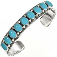 Navajo Ladies Sterling Silver Cuff Turquoise Row Bracelet