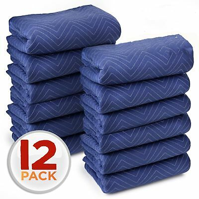 DURABLE QUILTED BLUE 80in L x 72in W COTTON MOVING BLANKET HEAVY DUTY LARGE MOVE