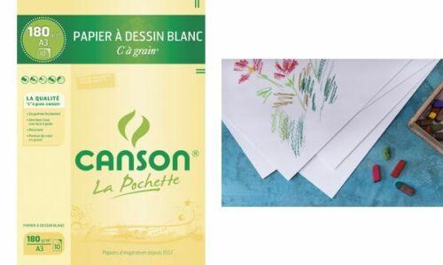 CANSON Zeichenpapier Skizzenpapier Aquarellpapier C à Grain A3 180g//qm 10 Blatt