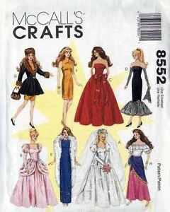 """DOLL Wardrobe PATTERN 11 1/2 """" FASHION Barbie WEDDING GOWN Cinderella RUSSIAN"""