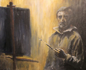 Portrait-man-self-gentleman-artist-selfie-rembrandt-original-acrylic-painting