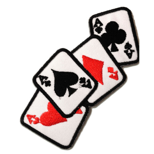 Iron on patches Application badges white Ace Poker cardn Biker 11x5cm