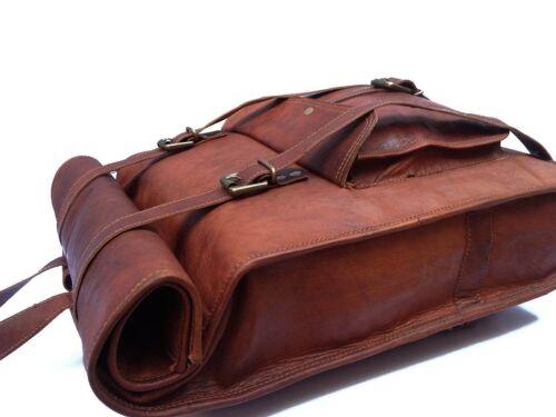 """Vintage Leather Backpack 18/"""" Laptop Bag Rucksack Shoulder College Travel Daypack"""