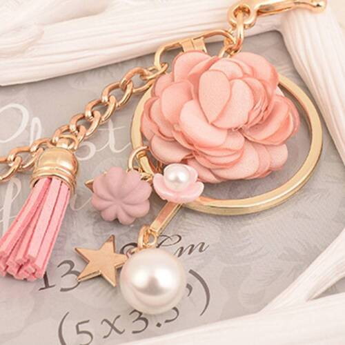 Rose Flowers Keychain Key Chain Gold Color Chain Tassel Key Ring Charm Pendant